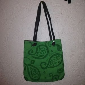 LIFE IS GOOD FLORAL PAISLEY GREEN CANVAS TOTE BAG